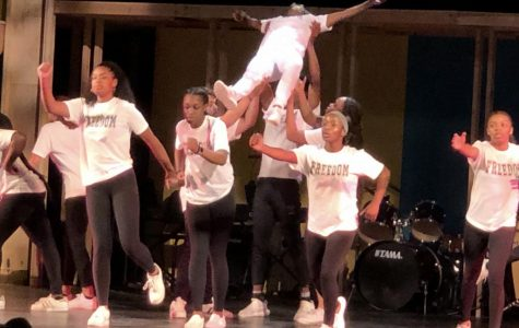 """The Kaleidoscope Step Team lifts J'Meeyah White '22 during their performance of """"Freedom"""" by Beyoncé ft. Kendrick Lamar."""