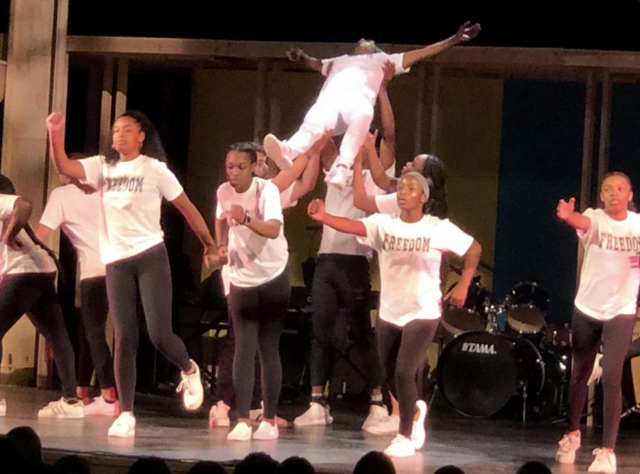 "The Kaleidoscope Step Team lifts J'Meeyah White '22 during their performance of ""Freedom"" by Beyoncé ft. Kendrick Lamar."