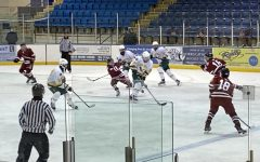 The varsity boys ice hockey team, lead by co-captains Cam Fernandez 21 and Seth Kaplan 21, played at an empty Mennen Arena on February 25 versus Morris-Knolls High School.
