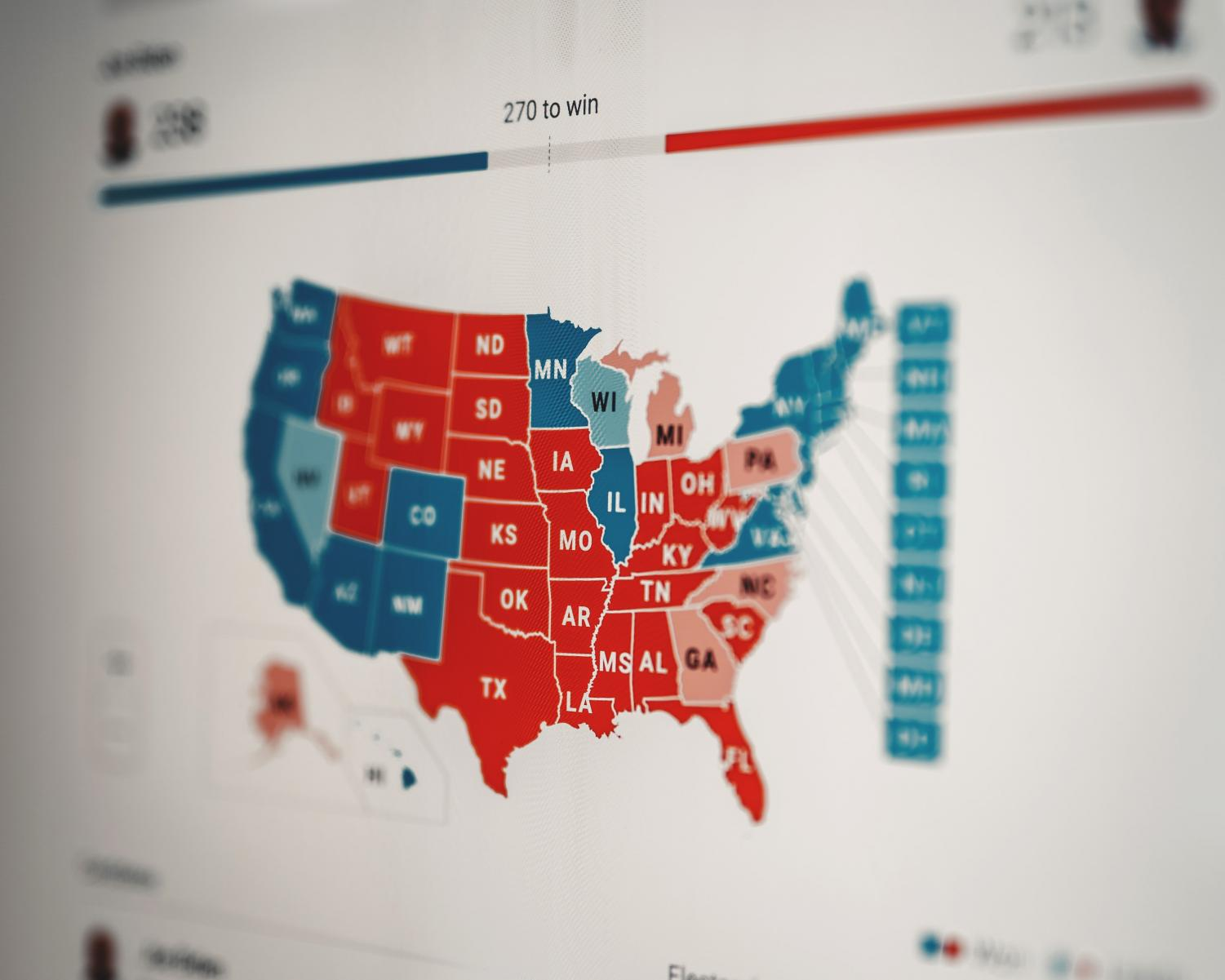 Many Americans were tracking the results live at home through various interactive maps available online. (Image courtesy of Clay Banks at unsplash.com)