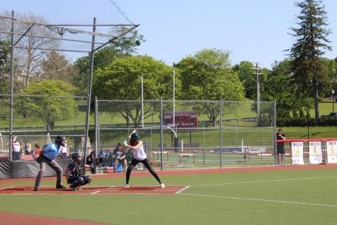 Crimson is up at bat against Mountain Lakes.